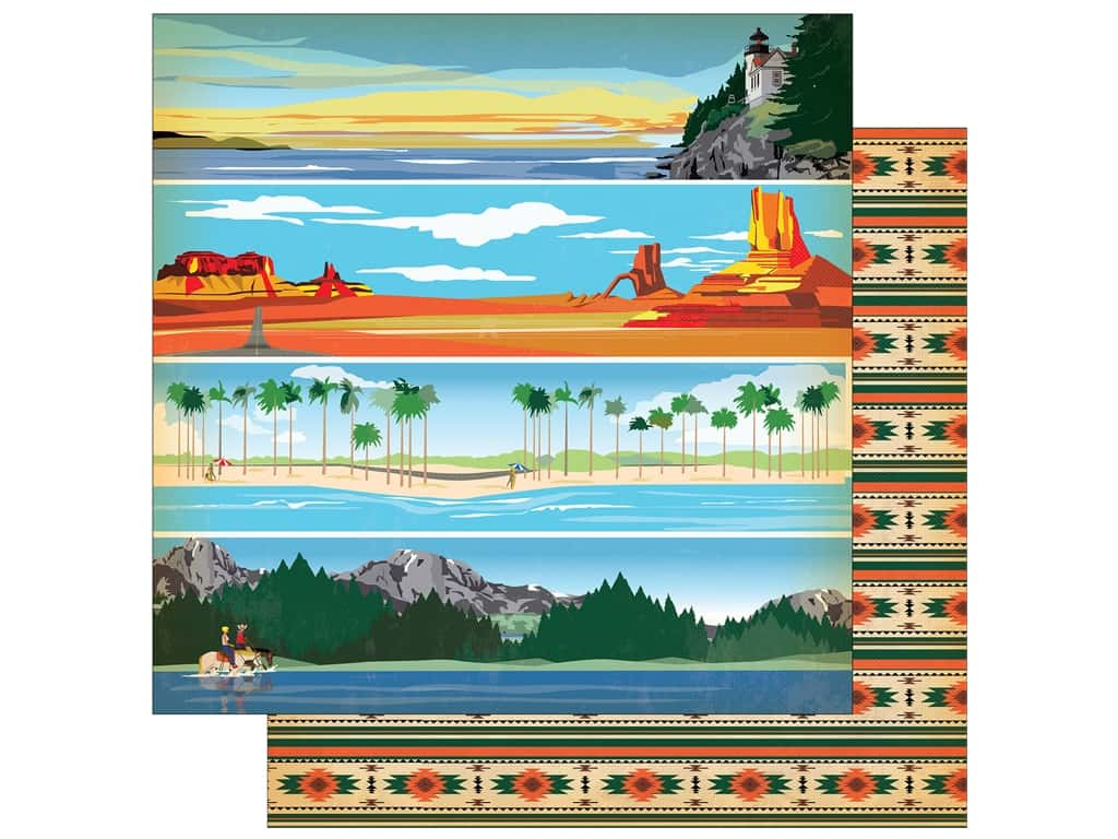 """Carta Bella Collection Are We There Yet Paper 12""""x 12"""" Region Strips (25 pieces)"""