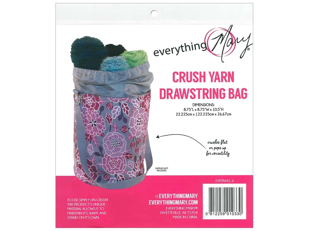 Everything Mary Yarn Drawstring Bag Pink Floral
