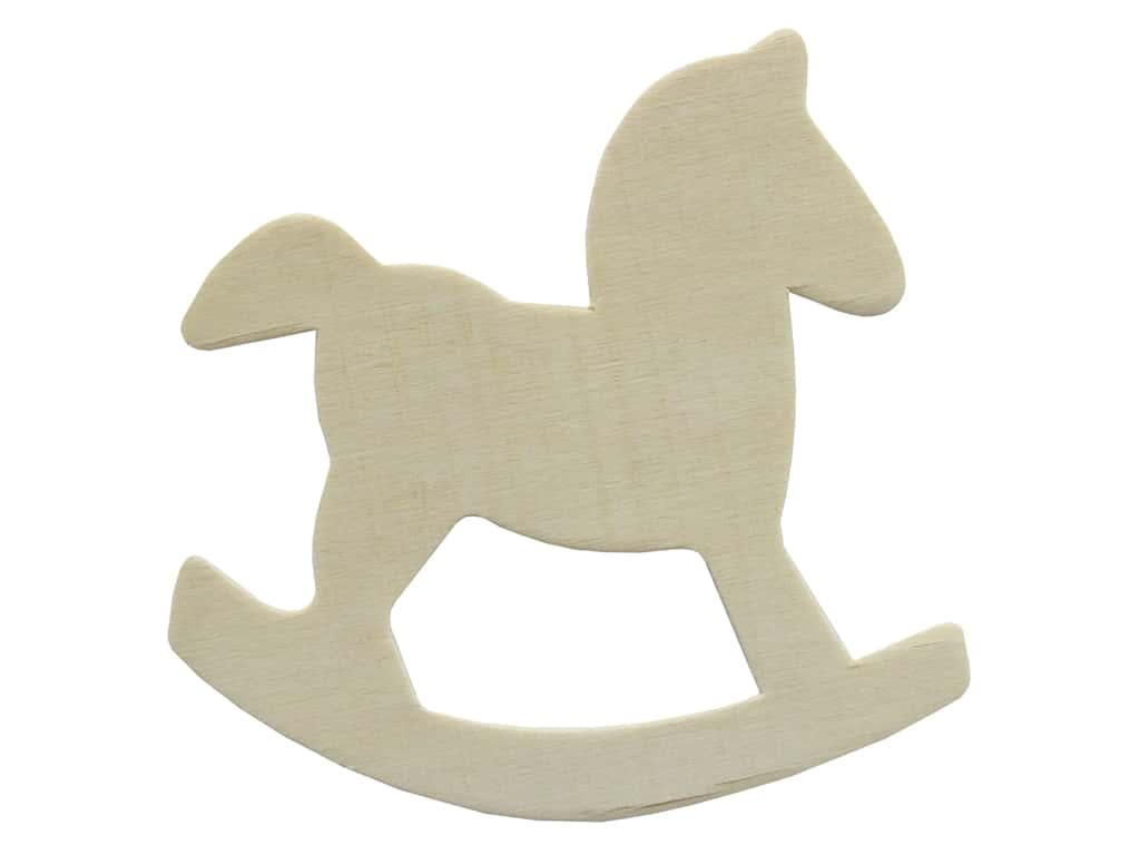 Darice Unfinished Wood Shape 4 in. Rocking Horse (12 pieces)