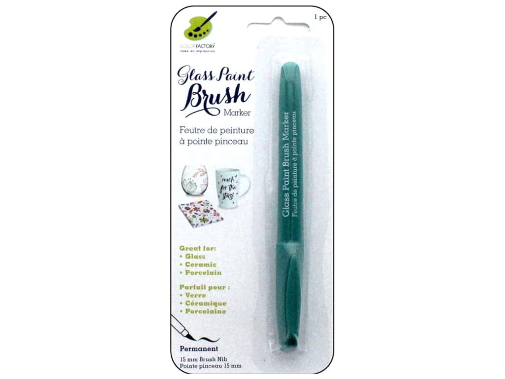 Multicraft Glass Paint Brush Marker Permanent Green