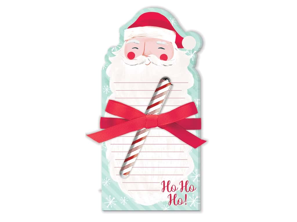 Lady Jayne Note Pad Holiday Die Cut With Pen Santa Beard