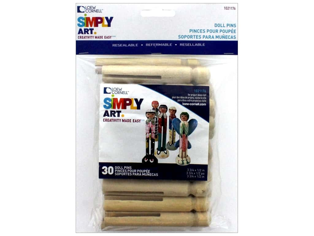 Loew Cornell Simpy Art Doll Pins 30 pc.