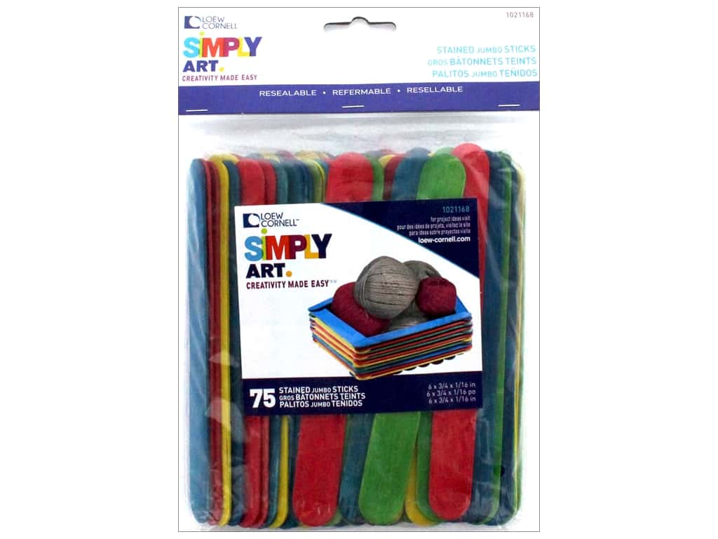 Simply Art Colored Jumbo Craft Sticks - 75 count
