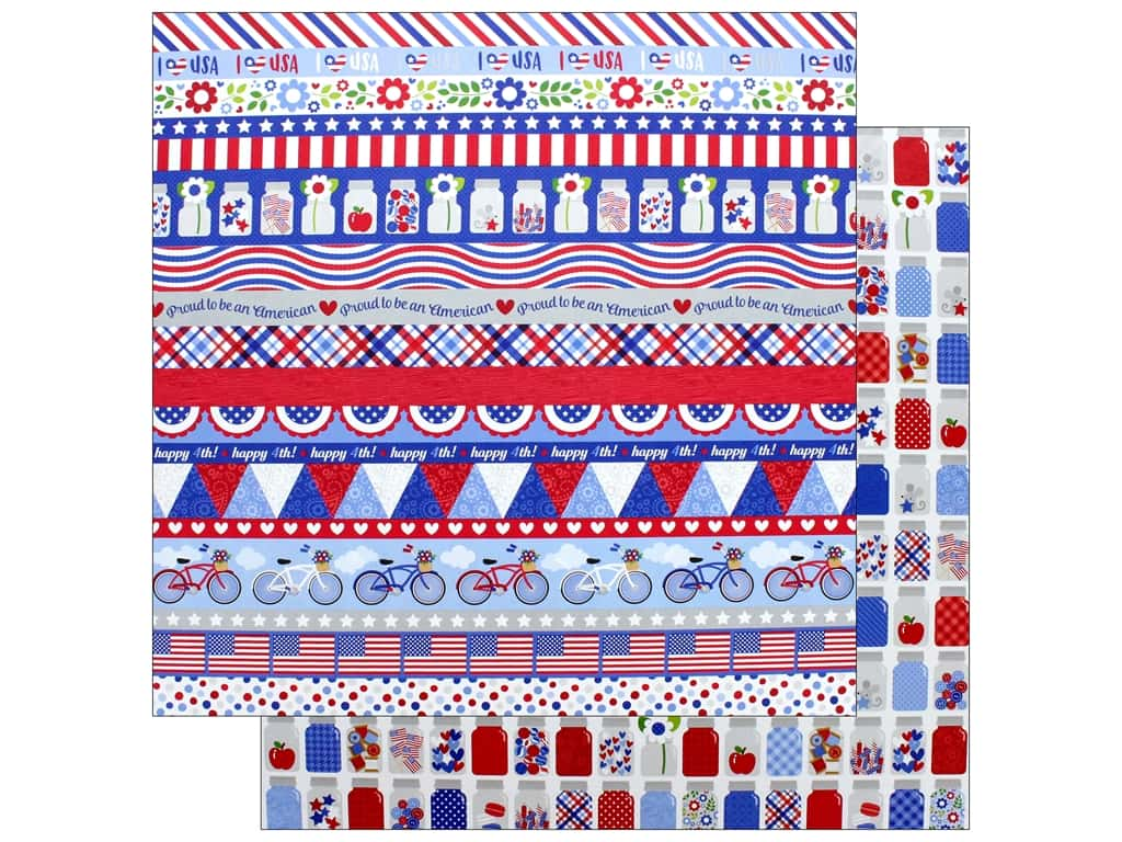"""Doodlebug Collection Yankee Doodle Paper 12""""x 12"""" Pint Size Treasures (25 pieces)"""