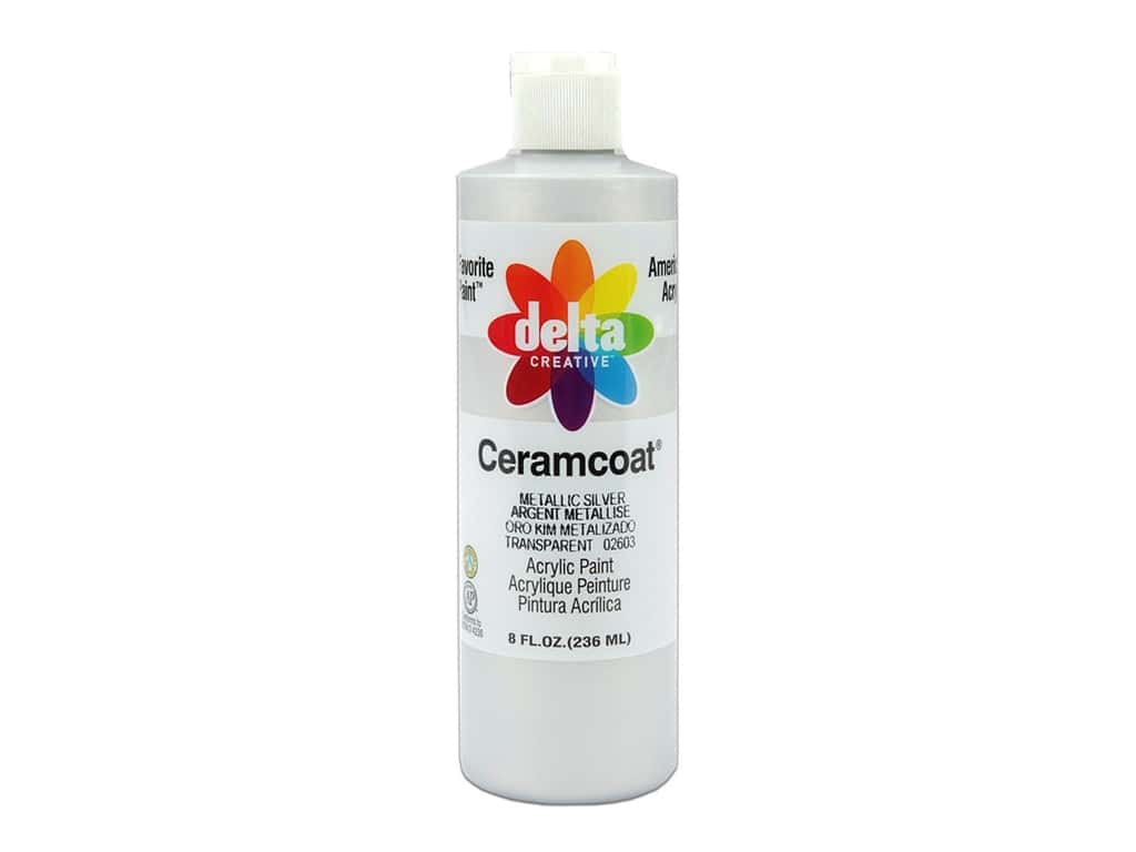 Delta Ceramcoat Acrylic Paint - #2603 Metallic Silver 8 oz.