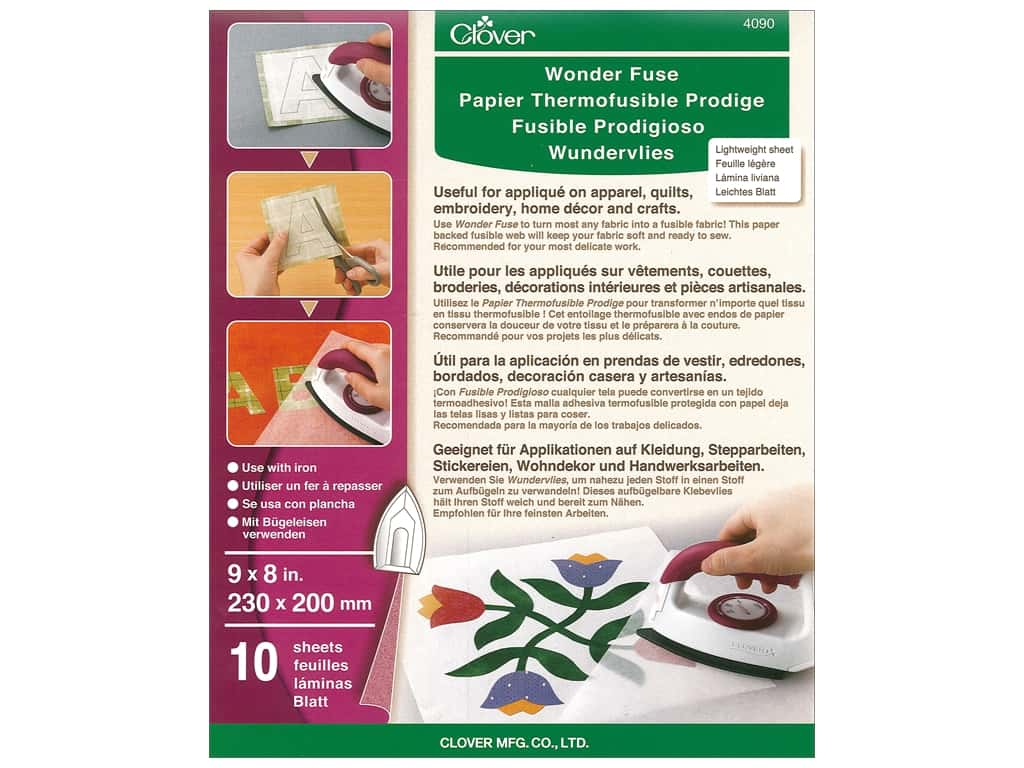 Clover Wonder Fuse Fusible Web 8 x 9 in. 10 pc.
