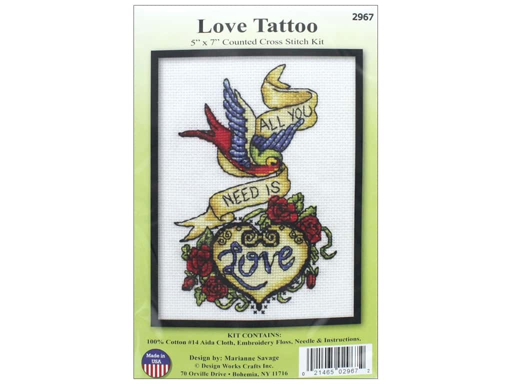 Design Works Counted Cross Stitch Kit 5 x 7 in. Love Tattoo