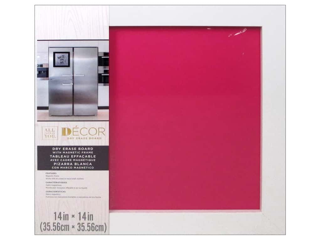 Darice Dry Erase Board 14 x 14 in. White & Hot Pink