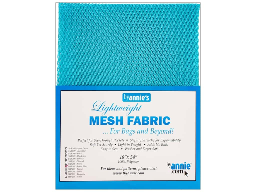 By Annie Lightweight Mesh Fabric 18 x 54 in. Parrot Blue