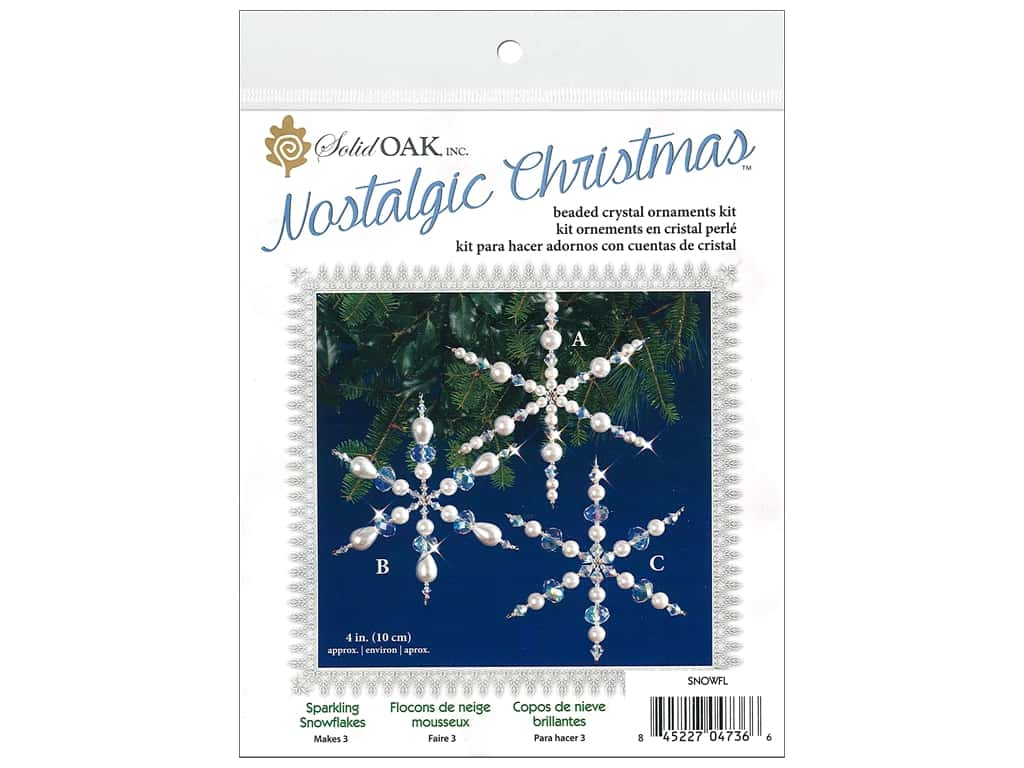 Solid Oak Kit Beaded Ornament Sparkling Snowflake