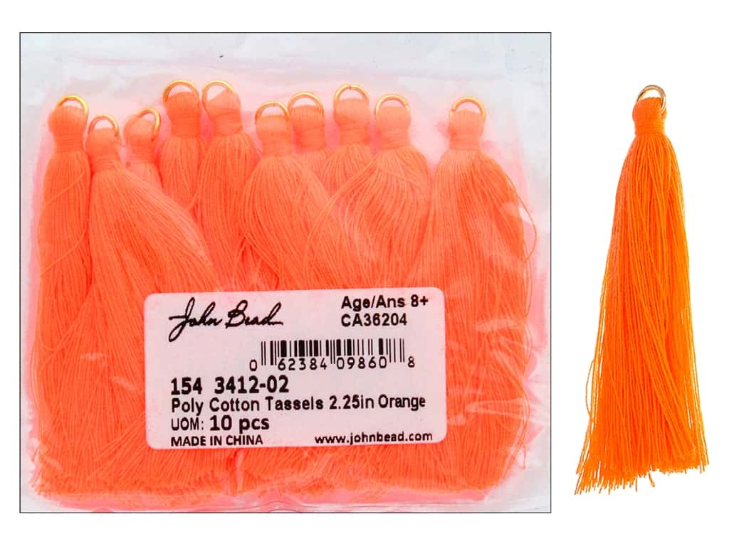 "John Bead Tassel Poly Cotton 2.25"" Orange 10pc"