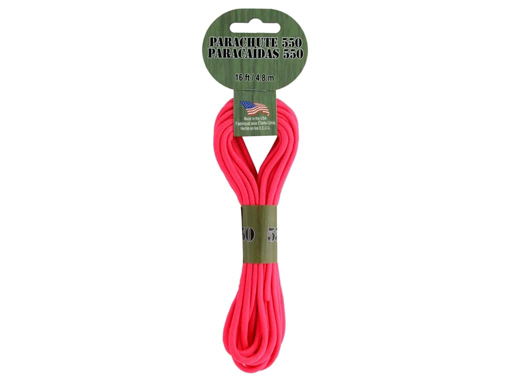 Pepperell Parachute Cord 550 Nylon 16ft Strawberry Pink