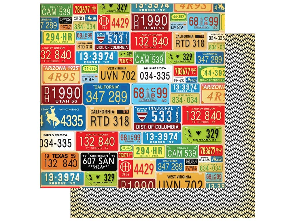 "Carta Bella Collection Cartopia Paper 12""x 12"" License Plates (25 pieces)"