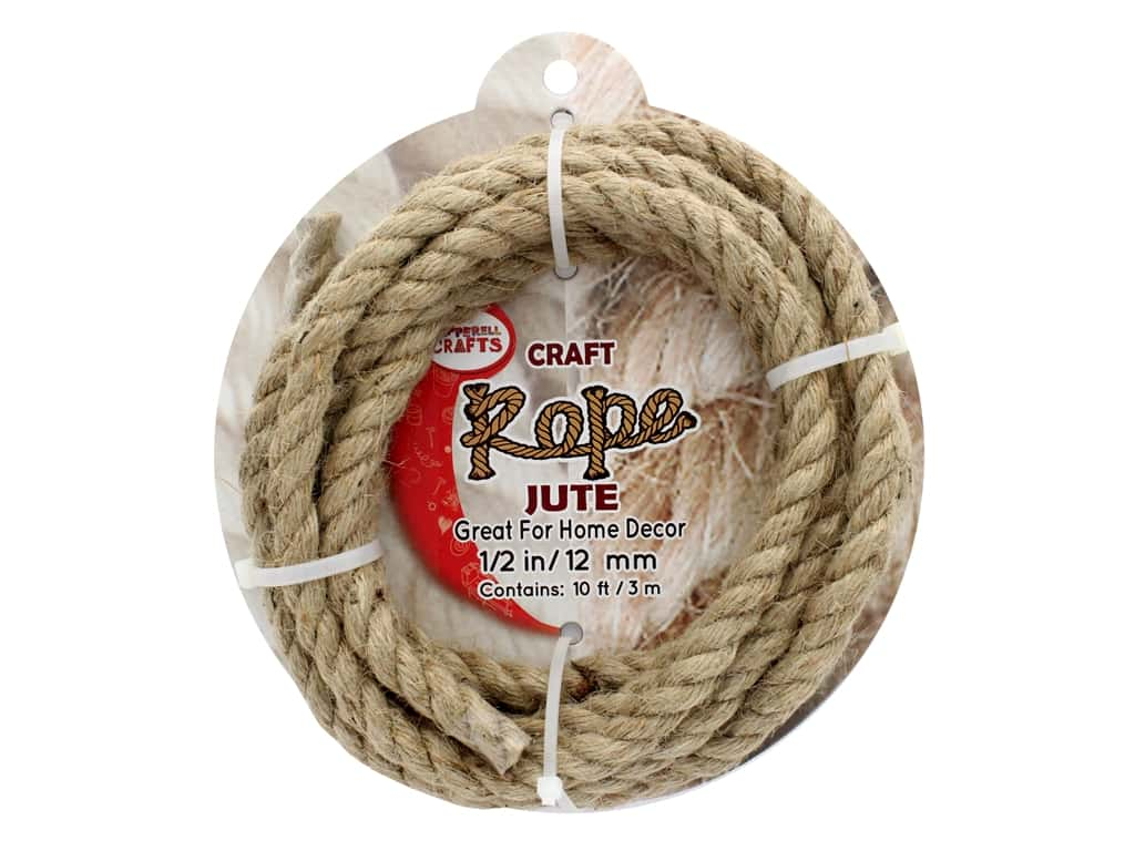 """Pepperell Craft Rope Jute 1/2"""" 10ft"""