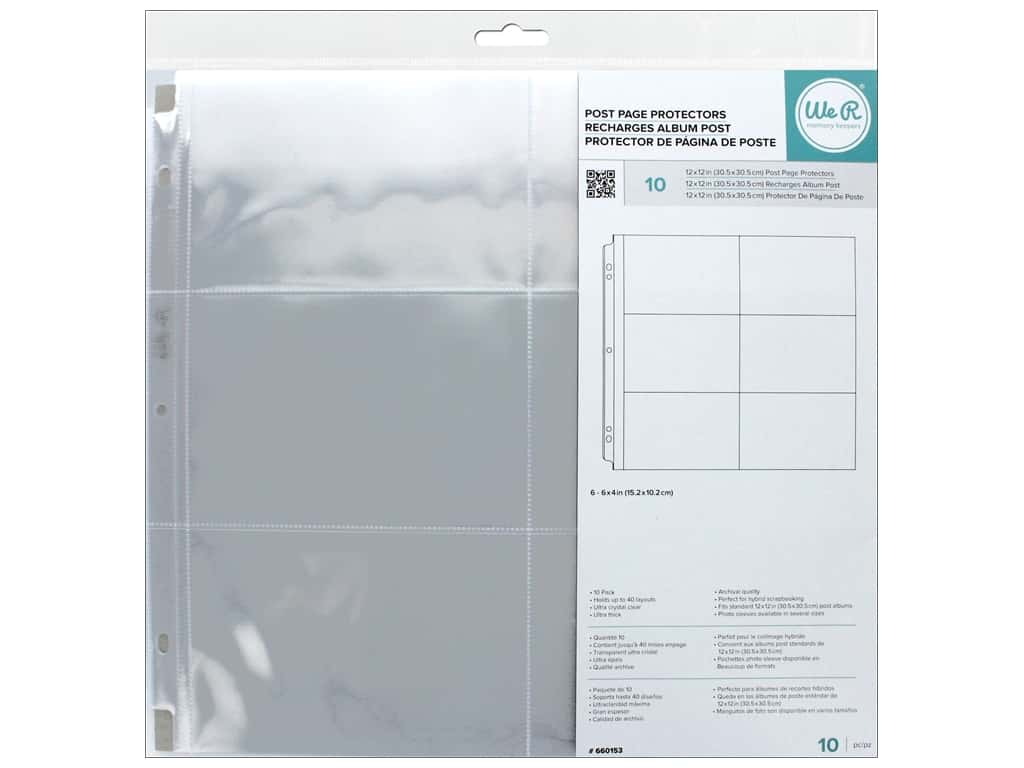 We R Memory Keepers Post Page Protectors 12 x 12 in. 10 pc. 6 x 4 in. Pockets