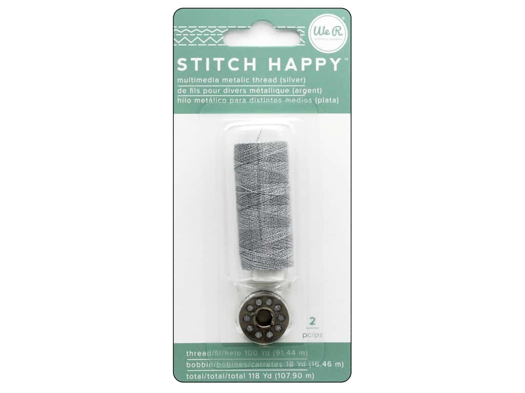 We R Memory Keepers Stitch Happy Thread Metallic Silver