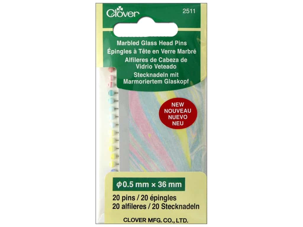 Clover Pins Glass Head Pins Marbled 20pc