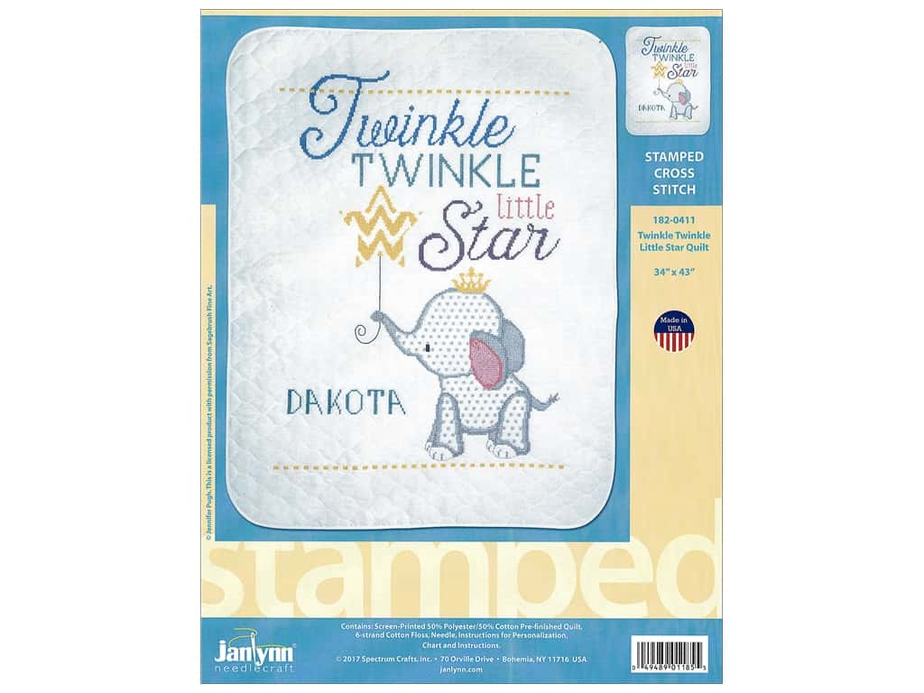 "Janlynn Cross Stitch Kit 34""x 43"" Twinkle Twinkle Little Star Quilt"