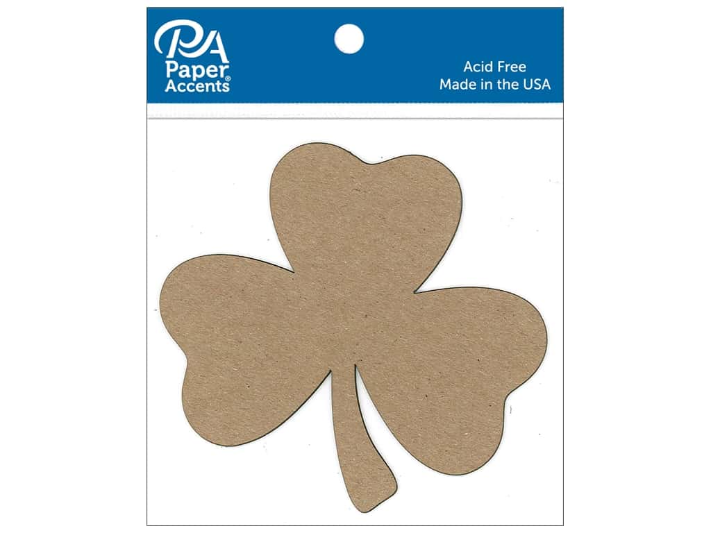 Paper Accents Chip Shape Shamrock Natural 8pc