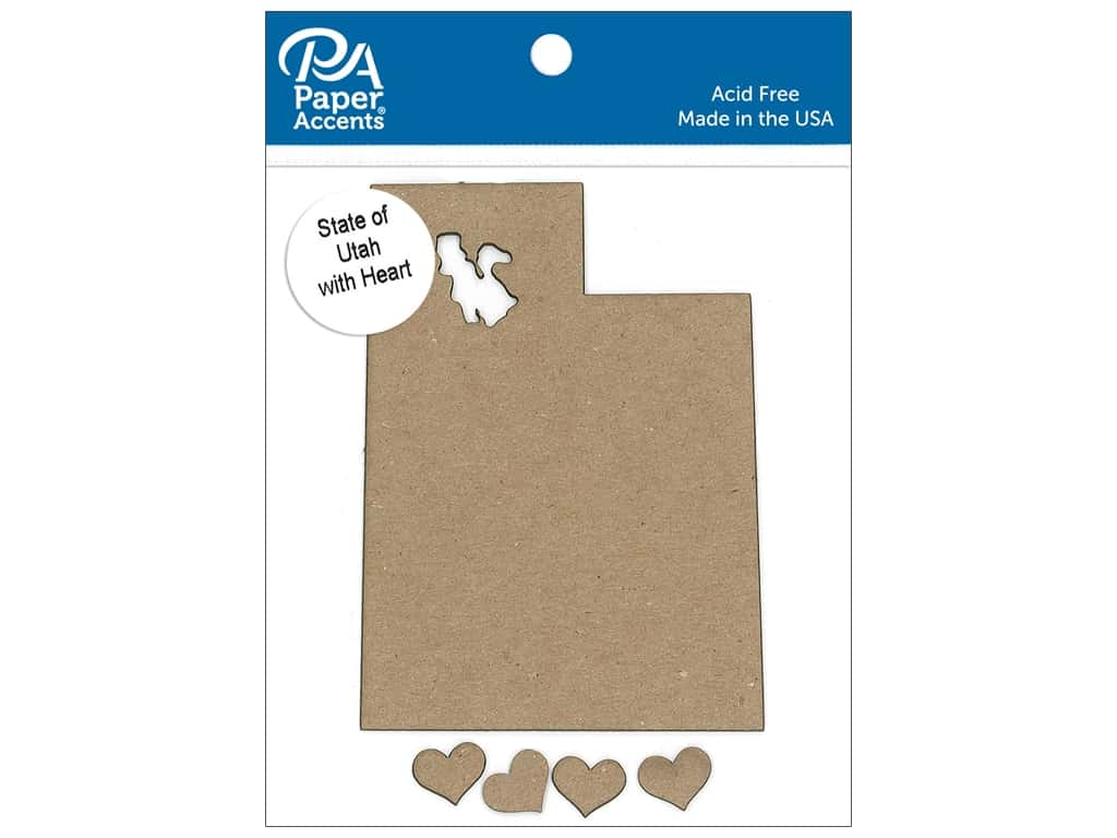 Paper Accents Chip Shape State of Utah with Heart Natural 4pc