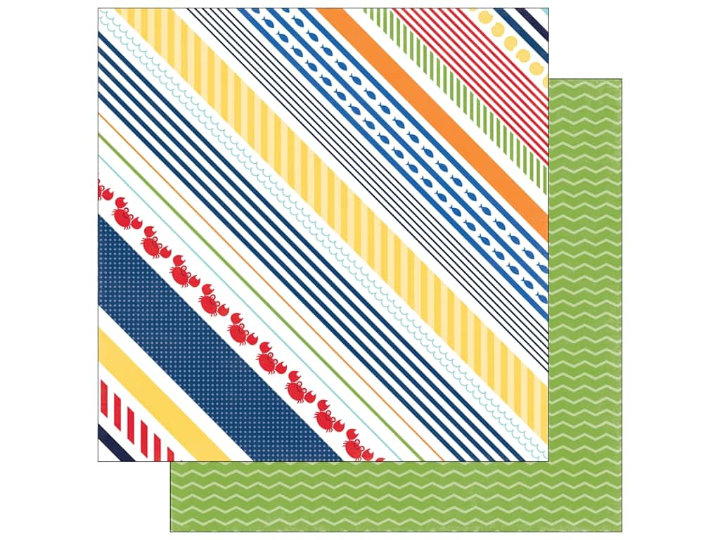 """Echo Park Collection Under The Sea Paper 12""""x 12"""" Crabby Stripe (25 pieces)"""
