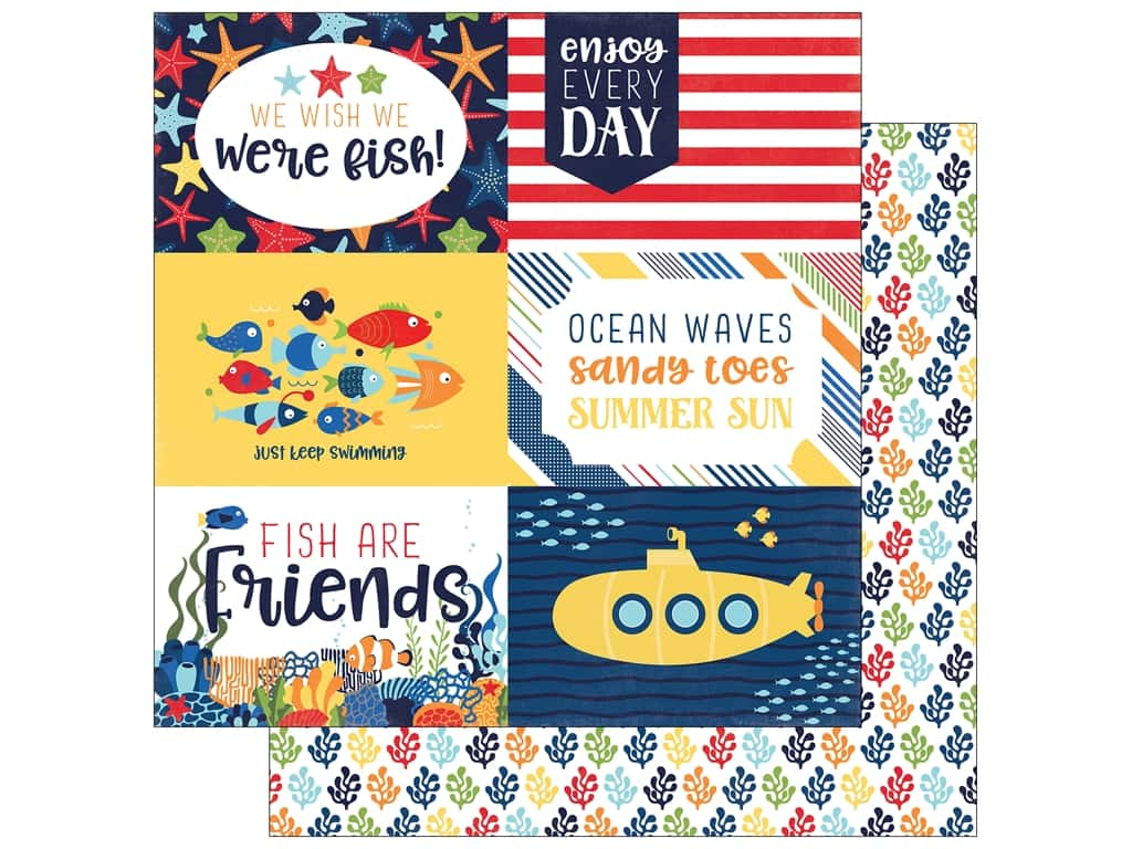 """Echo Park Collection Under The Sea Paper 12""""x 12"""" Journaling Cards 4""""x 6"""" (25 pieces)"""