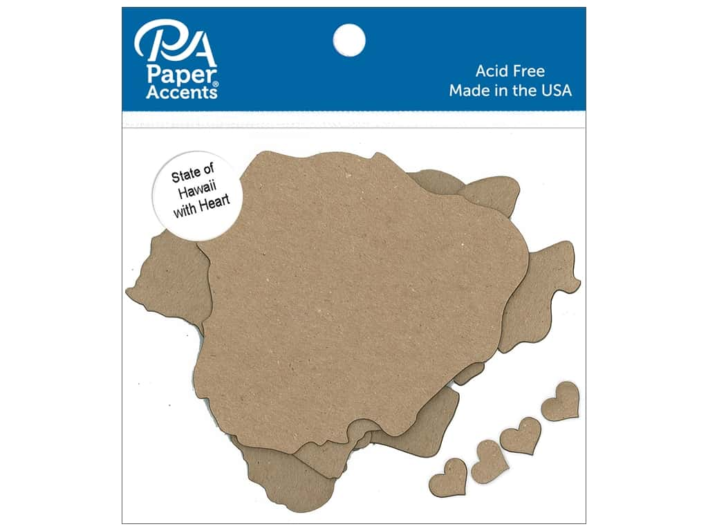Paper Accents Chip Shape State of Hawaii with Heart Natural 4pc