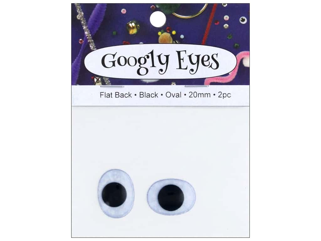 PA Essentials Googly Eyes 3/4 in. Oval 2 pc. Black