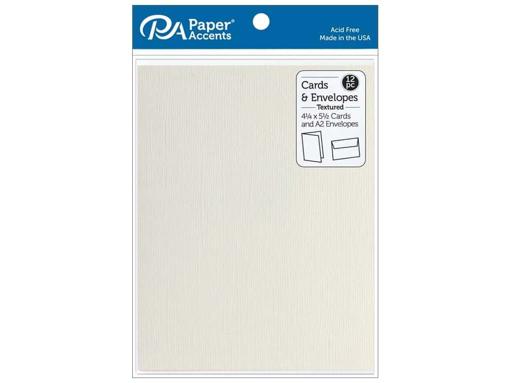 Paper Accents Blank Card & Envelopes - 4 1/4 x 5 1/2 in. - Textured French Vanilla 12 pc.