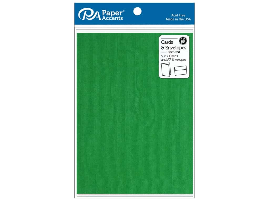 Paper Accents Card & Envelopes 5 in. x 7 in. Textured Christmas Green 12 pc