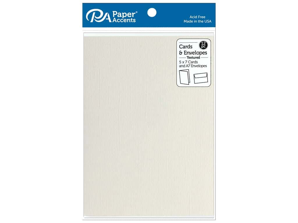 Paper Accents Card & Envelopes 5 in. x 7 in. Textured French Vanilla 12 pc
