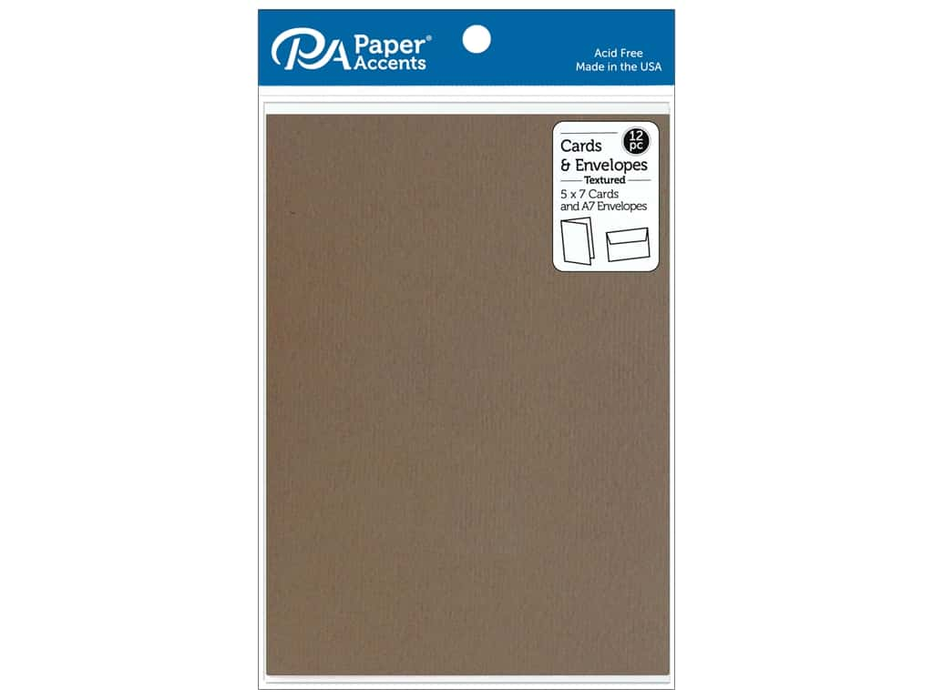 Paper Accents Card & Envelopes 5 in. x 7 in. Textured Clove 12 pc