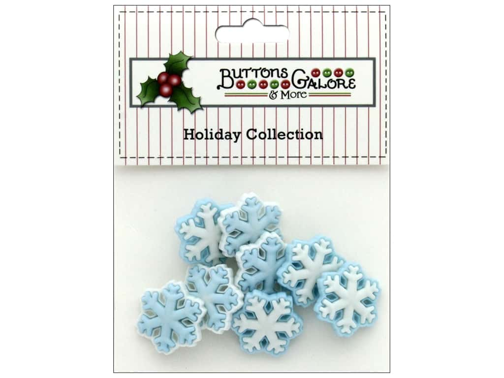 Buttons Galore Theme Button Holiday Frozen Flakes