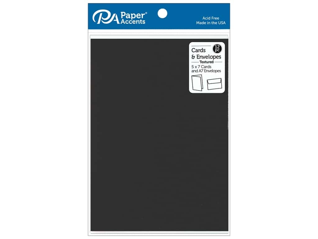 Paper Accents Card & Envelopes 5 in. x 7 in. Textured Deep Black 12 pc