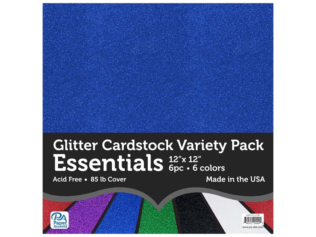 Paper Accents Glitter Cardstock Variety Pack 12 x 12 in. Essentials 6 pc.