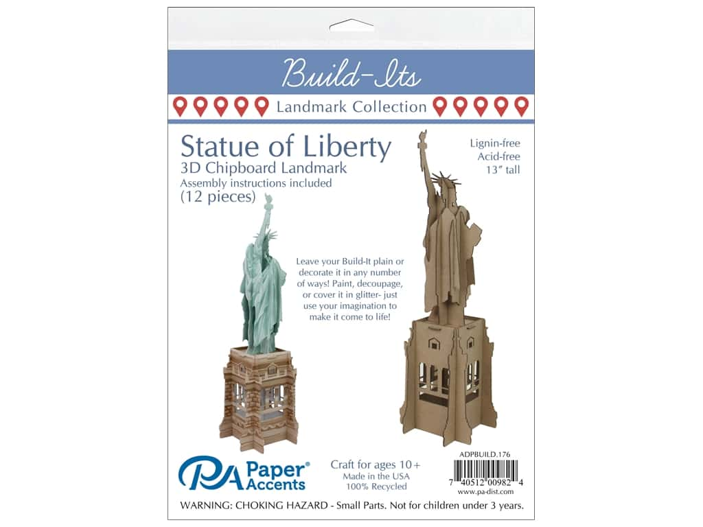 "Paper Accents Build Its Statue of Liberty 12"" Tall"