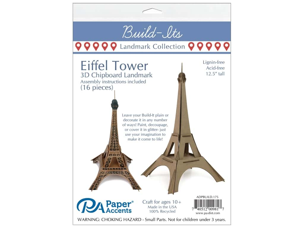 "Paper Accents Build Its Eiffel Tower 12"" Tall"