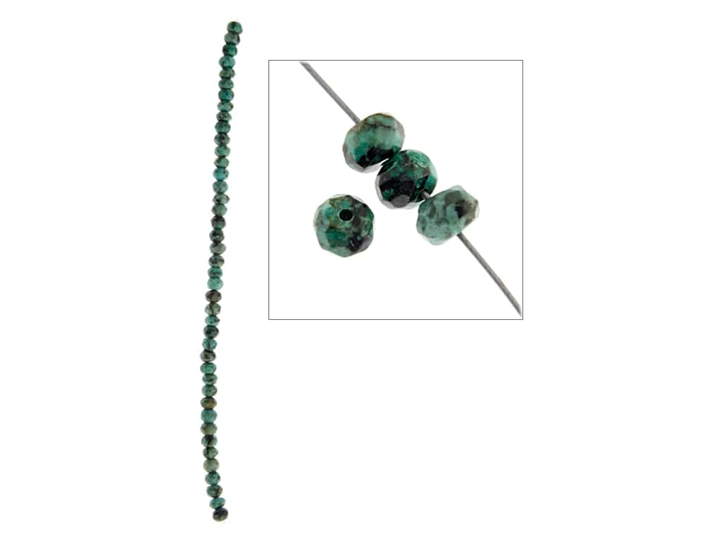 John Bead Semi-Precious 8 in. 6 mm Faceted Rondell African Turquoise