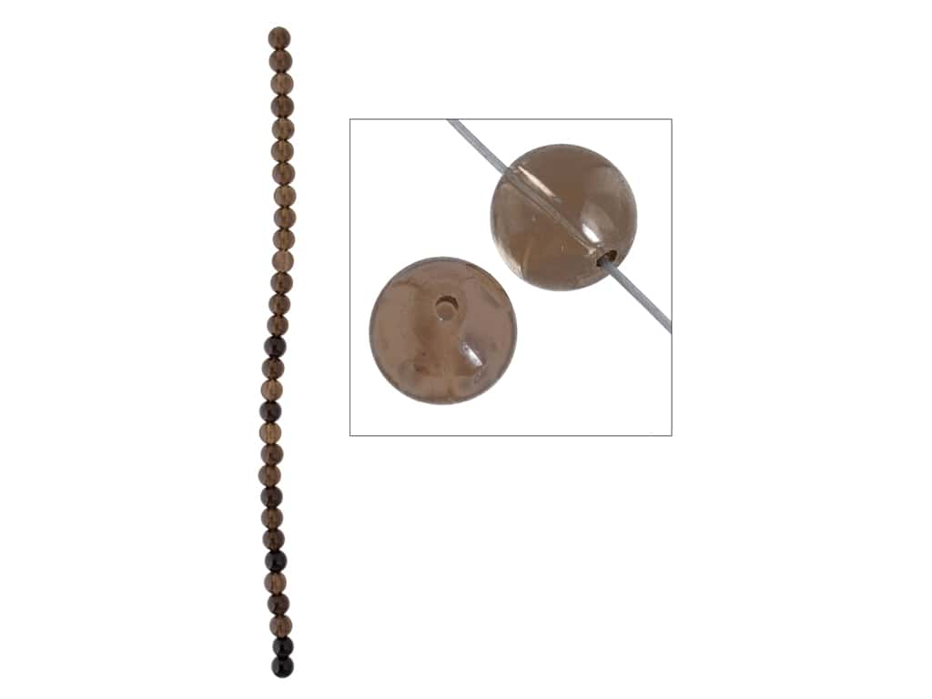 John Bead Semi-Precious 8 in. 6 mm Round Smoky Quartz
