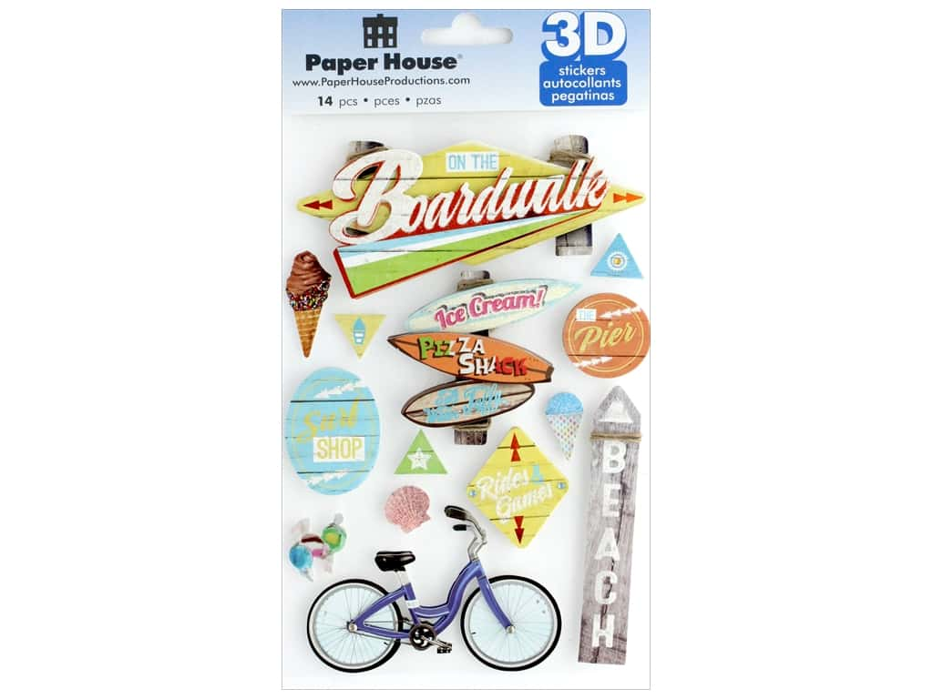 Paper House 3D Stickers - Boardwalk Beach