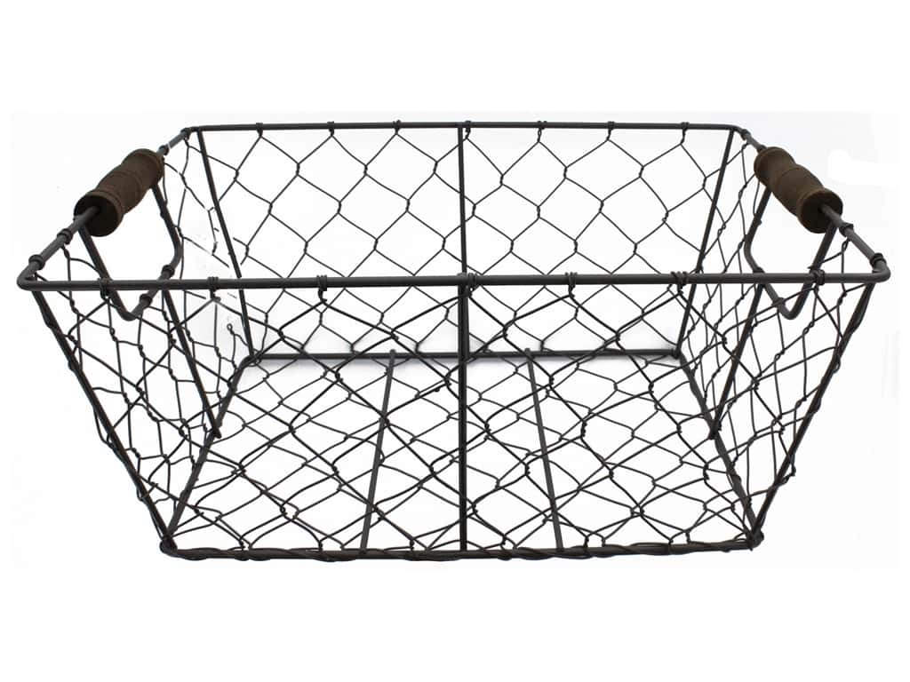 Sierra Pacific Crafts Storage Wire Basket With Handles 11.75 in. Rustic