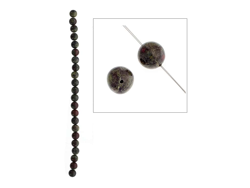 John Bead Semi-Precious 8 in. 8 mm Round Dragon Blood Jasper