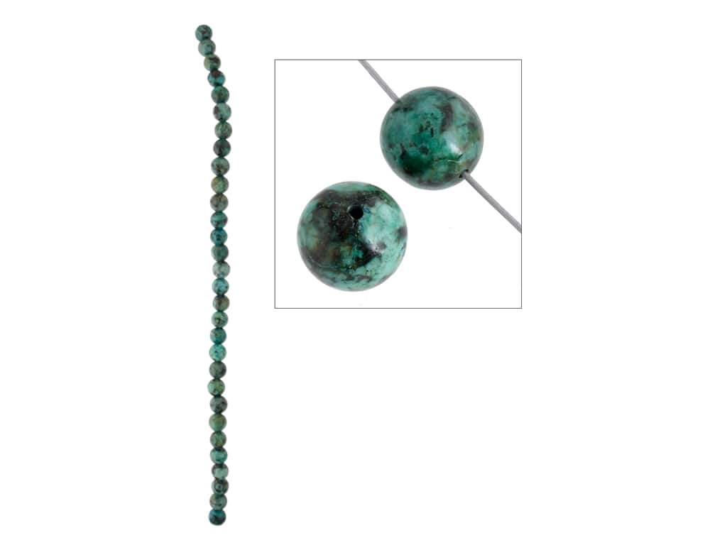 John Bead Semi-Precious 8 in. 6 mm Round African Turquoise