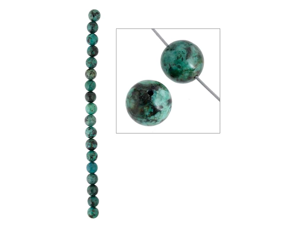 John Bead Semi-Precious 8 in. 10 mm Round African Turquoise