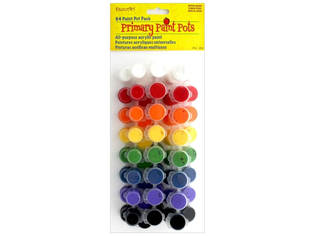 DecoArt Paint Pots Americana Primary Value Pack 64pc