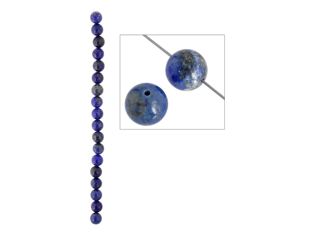 John Bead Semi Precious Bead 8 in. Lapis 10 mm Round