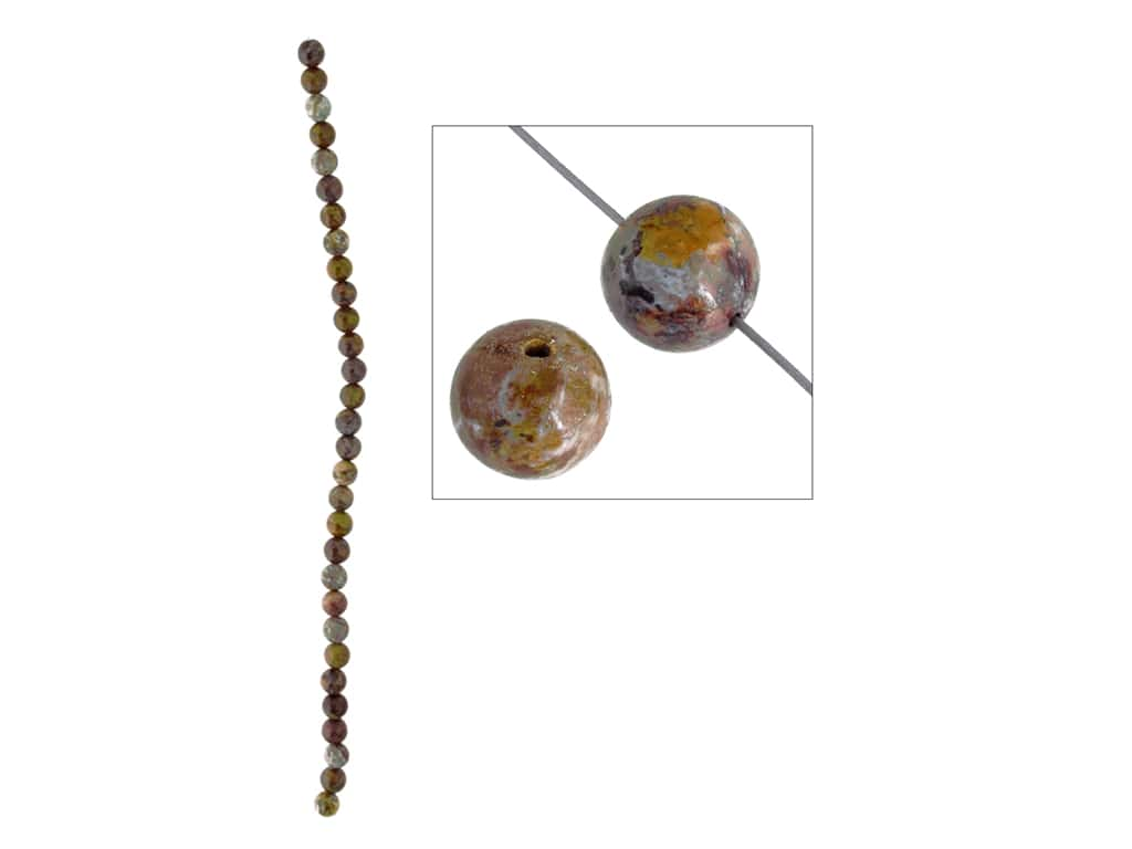 John Bead Semi Precious Bead 8 in. Rainbow Agate 6 mm Round