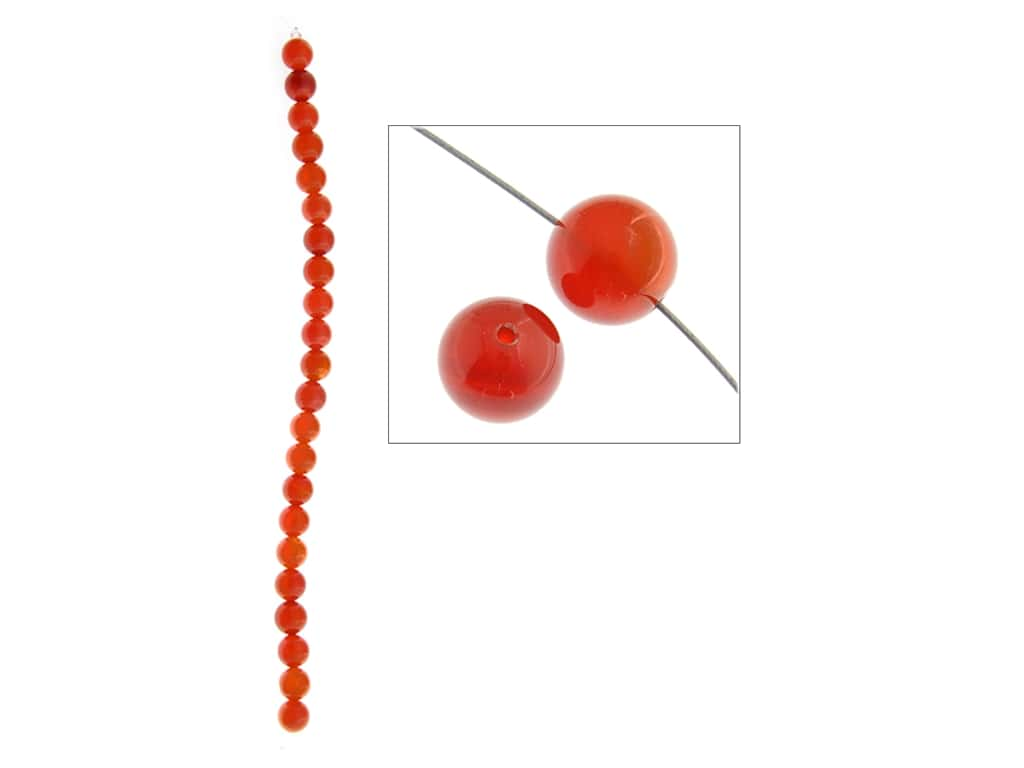 John Bead Semi-Precious 8 in. 8 mm Round Carnelian