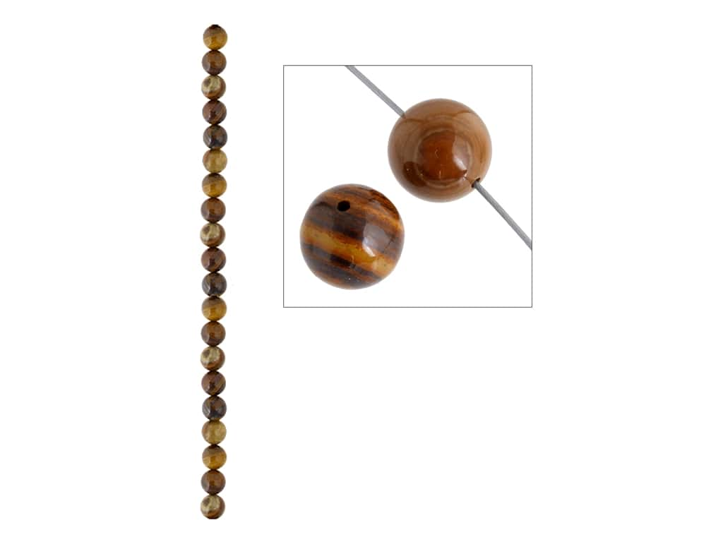 John Bead Semi-Precious 8 in. 6 mm Round Iron Zebra Jasper