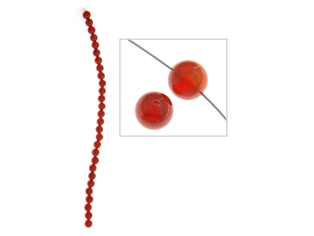 John Bead Semi-Precious 8 in. 6 mm Round Carnelian